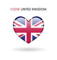 love united kingdom symbol flag heart glossy icon vector image vector image