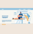 massage therapy and rehabilitation landing page vector image vector image