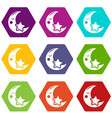 moon icons set 9 vector image vector image