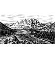 mountain landscape background alpine peaks vector image