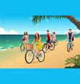 people biking on beach vector image