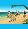 people biking on the beach vector image vector image