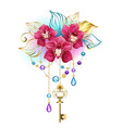 pink orchid with key vector image vector image