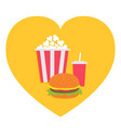 popcorn burger soda drink glass with straw heart vector image