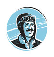portrait of happy pilot in cap aviator airman vector image vector image