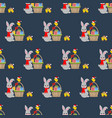 rabbit and chicken pattern vector image vector image