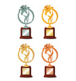 set four awards for winning contest or vector image vector image