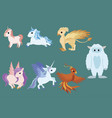 set mythical animals collection cartoon vector image