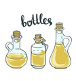 Set of Olive or Sunflower Oil Glass Bottles vector image vector image