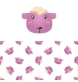 Sheep Head Icon And Pattern vector image vector image