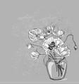 sketch flower background card vase interior vector image