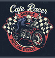 skull riding cafe racer motorcycle in textured vector image vector image