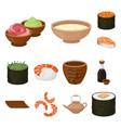 sushi and seasoning cartoon icons in set vector image vector image