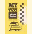 taxi cab retro vintage grunge poster vector image