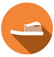 toothbrush icon with a long shadow vector image