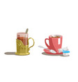 transparent glass of tea and cup of coffee vector image