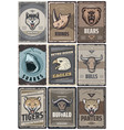 vintage colored animals posters set vector image vector image
