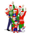 waving christmas family vector image vector image