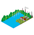 wind turbines in the lake vector image