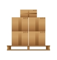 Wooden pallet with cardboard boxes vector image