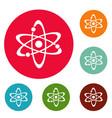 atom icons circle set vector image