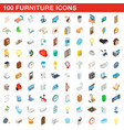 100 furniture icons set isometric 3d style vector image vector image