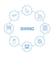 8 swing icons vector image vector image