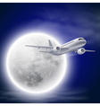 Airplane in the night sky with moon vector image vector image