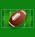 american football field with realistic ball line vector image
