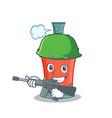 army aerosol spray can character cartoon vector image