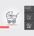 baby stroller line icon with editable stroke vector image
