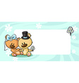 Bears in wedding dress lies on horizontal design vector image