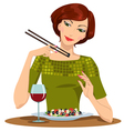 beautiful girl dines vector image vector image