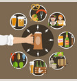 beer flat icons set vector image vector image