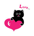 black cat with a pink heart vector image