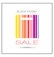 black friday sale poster with colorful bar code on vector image