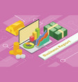 business report concept 3d isometric with laptop vector image vector image