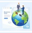 businessman handshake with globe earth background vector image vector image