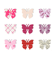 Butterfly set Pink red and warm tones vector image vector image