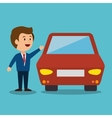 cartoon man car earnings design isolated vector image