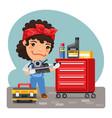 cartoon mechanic woman in a workshop vector image