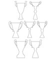 champion cup set in thin line style vector image