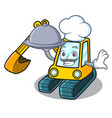 chef with food excavator mascot cartoon style vector image vector image