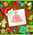 christmas tree holly berry frame with xmas gifts vector image
