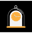 Clock icon with glass cap Flat design Black vector image vector image