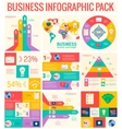 collection of 9 business flat infographic elements vector image vector image