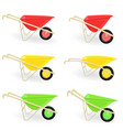 Collection of different colored wheelbarrows vector image