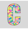 Color Piece Puzzle Jigsaw Letter - C vector image