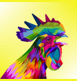 colorful rooster head vector image vector image
