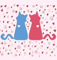 couple of bright colored cats on Valentines Day vector image vector image